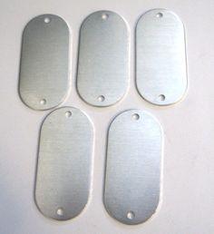 "Large 1x2"" Rounded rectangle aluminum blank tags qty 20 double hole. $25.50, via Etsy."