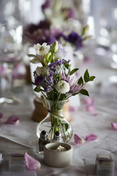 A lovely lavender color themed table setting in our dining room.