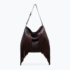 LEATHER BUCKET BAG WITH FRINGES from Zara