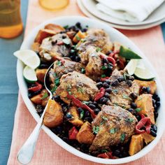 This spicy, smoky Latin Chicken dish boasts a good portion of your daily fiber and beta carotene thanks to black beans and sweet potatoes.