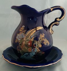 VINTAGE MY-NEIL WATER BLUE PITCHER WITH DISH.