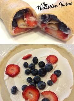 """Fruit and """"Cream"""" Crepes   Scrumptious   Only 101 Calories   Super Easy with Meal or as Snack   For MORE RECIPES please SIGN UP for our FREE NEWSLETTER NutritionTwins.com"""