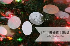 stitched photo garland for the Christmas tree