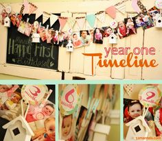 Do a timeline (in pictures) of your child's first year & display it at their first birthday party!  Cute!!