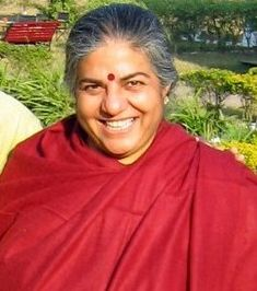 """Indian environmental and """"alter-globalization"""" activist Vandana Shiva is an outspoken campaigner for protecting seed biodiversity against biotech-profiteering and genetic engineering. Her grassroots approach has helped to redefine food security and the """"green revolution"""" as a movement that empowers local food growers, rather than big agribusiness. She is the founder of Navdanya, a NGO based in Dehradun, India that promotes organic farming and seed-saving."""