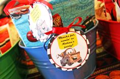 Inkspot Workshop: Tow Mater Cupcakes & cute thank you tags