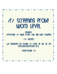 Free! /r/ Screening Probe- Word Level. It includes 120 words:* Prevocalic /r/ (with front, mid, and back vowels)* /r/ clusters* All va...