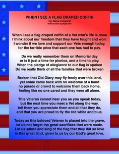 memorial day poems when i see a flag draped coffin