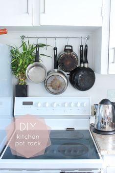 pot racks, diy pot rack, diy rental kitchen, diy kitchen, diy hanging pan rack