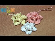 Crochet Folded Petal Flower With Picots Tutorial