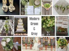 gray and green wedding love