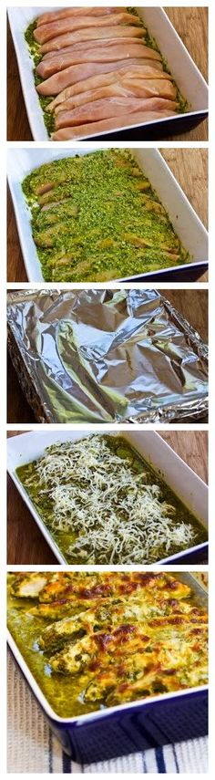 Baked Pesto Chicken.... second time making it. So moist! I didn't have shredded cheese so I used slice provolone, baked it at 375 for 30 min  (covered),then broiled with sliced provolone for 5 min. Perfect! #food