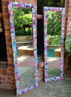 Lilly Pulitzer mirrors made from recycled Lilly agendas