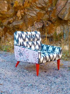Flamestitch Floral Tufted Vintage Chair by by vintagerenewal