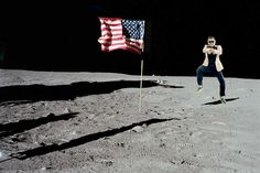 PSY doing the Gangnam Style dance on the moon!