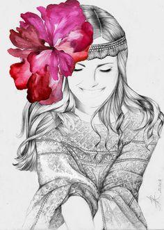 #Fashion illustration #art #love #flower #paint #draw #watercolor