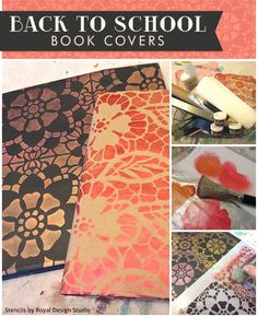Easy Fun Stencil DIY: Kids Teens Back to School Book Covers School Supplies - Arts and Crafts DIY Project using Royal Design Studio wall stencils and metallic paint stencil cremes | Paint + Pattern