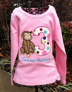 Appliqued Curious George Birthday Number Shirt or Onesie Girls