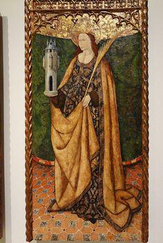 Santa Bárbara. Barcelona. Museo Nacional de Arte de Cataluña.  Tercer cuarto del siglo XV Temple y dorado con pan de oro sobre tabla.
