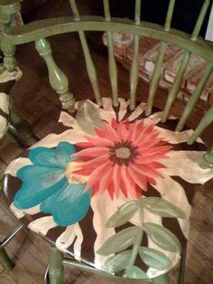 Hand Painted Furniture ~ Zebra and Floral Bar Stools