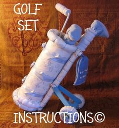Instructions to make this1st Golf Set Diaper Cake. $8.99 #craft #diy #project #gift #present #birthday #holiday #diaper #cake #baby #shower #golf #caddy #instruction #tutorial #etsy