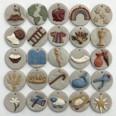advent, heirloom christma, ornament set, jess tree, handpaint jess, trees crafts clay, christma ornament, christmas ornaments, tree ornament