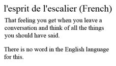 L'espirit de l'escalier - That feeling you get when you leave a conversation and think of all the things you should have said. There is no word in the english language for this.