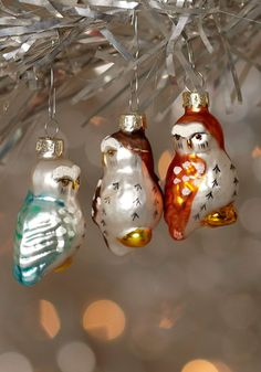 {owl ornament set} delightful addition to any Christmas tree!