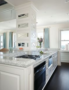 White cabinets gray counters