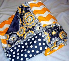 Chevron Dots & Flowers  - Baby Girl Rag Quilt