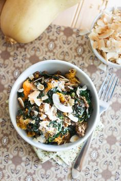 Kale Butternut Squash Breakfast Bowl   by Sonia! The Healthy Foodie