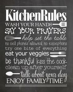 Kitchen Rules free printable. Gotta have this in the kitchen!
