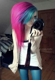#Pink and #Blue #Hair #Dyed #Dye