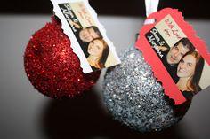 Cute glitter wedding ornaments with photo tag