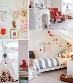 love this big girl's room...tent, art, stripes, pom pom's and a beautiful vintage chair...