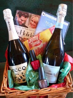 Ideas for fun gift baskets with wine... chic flick nite, date night and more...