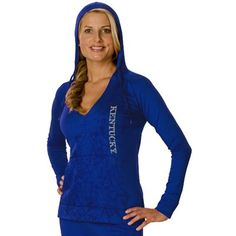 Kentucky Wildcats Womens Cozy V-Neck Pullover Hoodie - Royal Blue