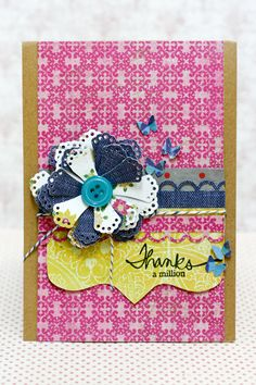 Love the colors of this card and that flower...so pretty! card idea, pretti card, crate paper, flower