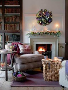 decor, books, interior, chair, living rooms, fireplac, basket, sitting rooms, christma