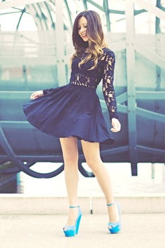 black lace, little dresses, fashion, cloth, heels, beauty, sleeves, blues, lace dresses