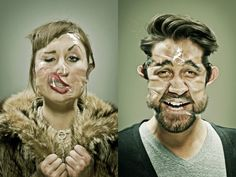 Using heaps of scotch tape, New Mexico based artist Wes Naman transforms people's faces into barely recognizable caricatures. via Junk Culture