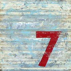 rustic lucky number 7 lucki number, red, color combos, numbers, heart jewelry, heart art, paints, prints, vintage style