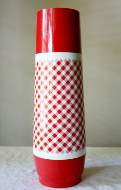 Vintage red and white checked Thermo Serv thermos..