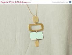 On Sale Formica Long Squares Necklace, pastel pendant