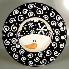 Snowman bowl snowman plate, snowman bowl