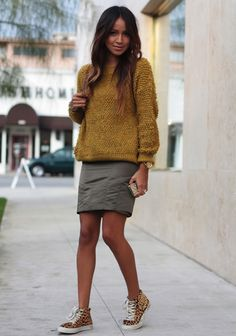 Skirt + Sweater + Sneakers