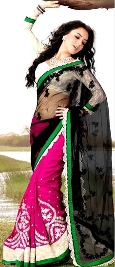 #Black and Deep Magenta Net and Faux Chiffon #Saree With #Blouse @ $135.93 | Shop Here: http://www.utsavfashion.com/store/sarees-large.aspx?icode=sry207a