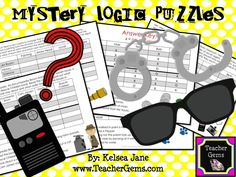 Challenge your students to improve their higher-order thinking skills with these mystery theme logic puzzles! #TpT #TeacherGems #CriticalThinking
