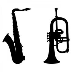 Saxophone and trumpet silhouette svg files