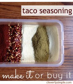 Homemade taco seasoning!  Should you make it or buy it?  See my comparison of COST, TIME and TASTE!